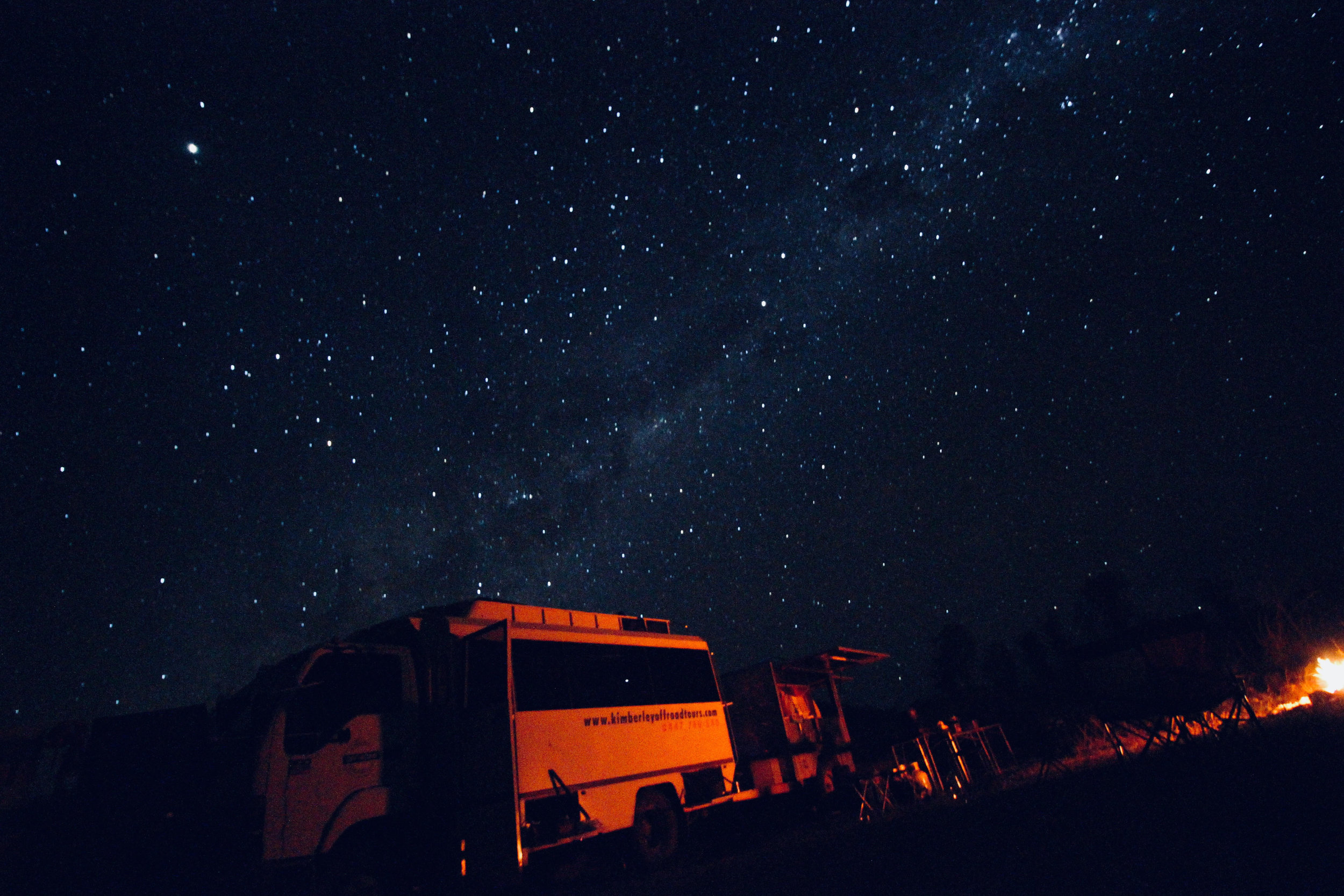 Our Kimberley truck under the Milky Way  Photo credit: Lara Endlich