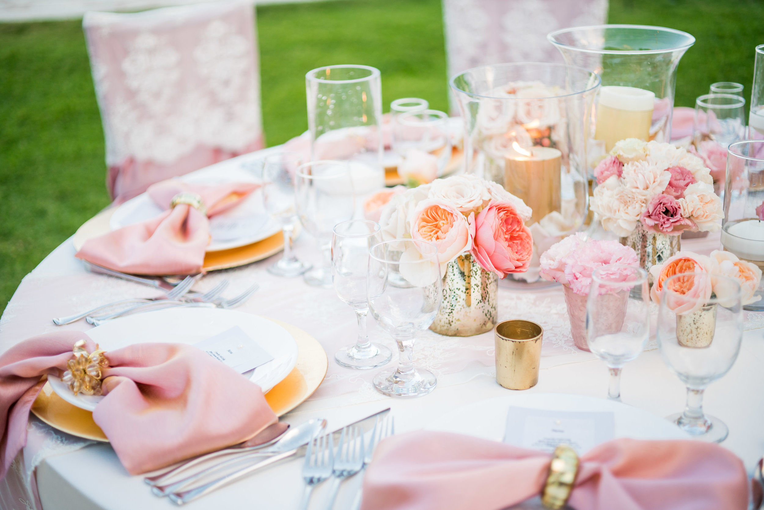 Pink Rose Garden Rose Centerpiece Bridal Flowers Hawaii