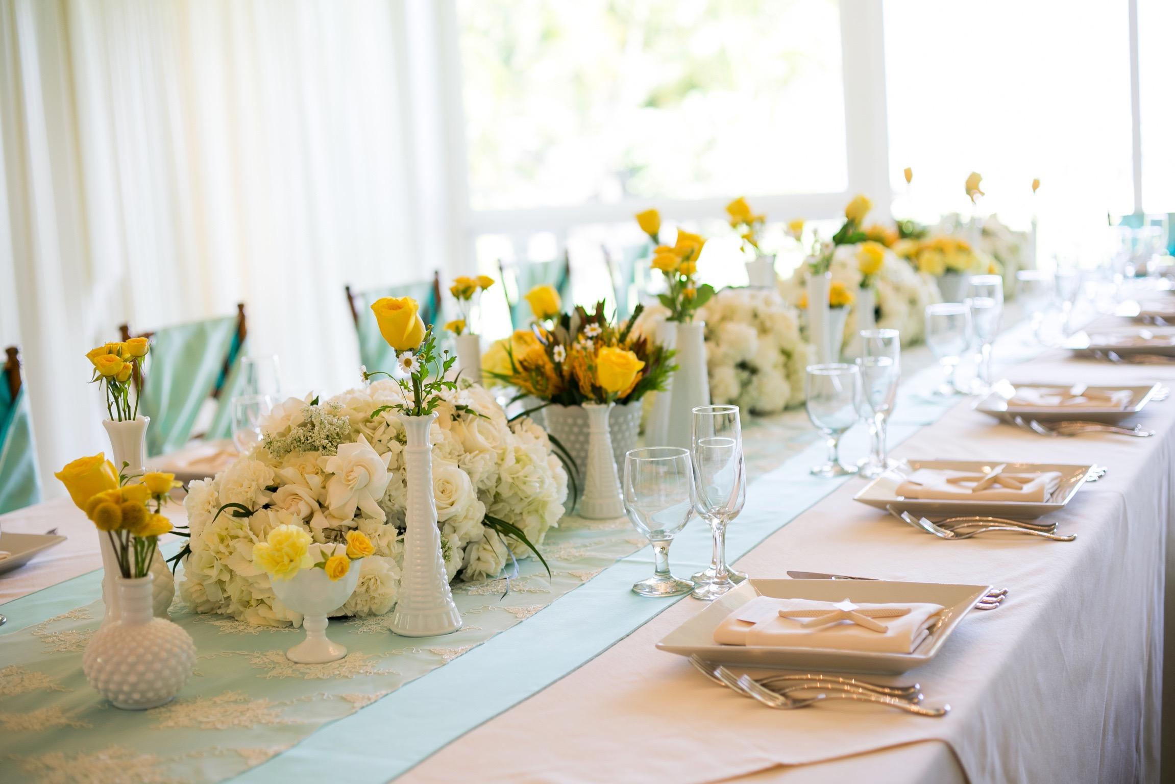 Yellow Centerpiece Bridal Flowers Hawaii