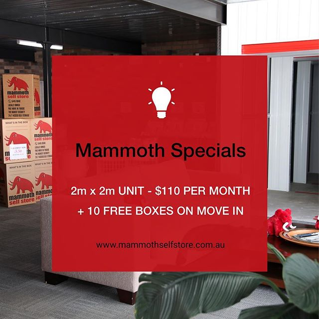 Mammoth March Specials: Maroochydore 🚨 ⠀ 🐘 2m x 2m Unit - $110 Per Month + 10 FREE boxes on move in. ⠀ ⠀ Offer valid until 31st March 2018 or until sold out. Prices include GST. Contact Mammoth Self Store Today!