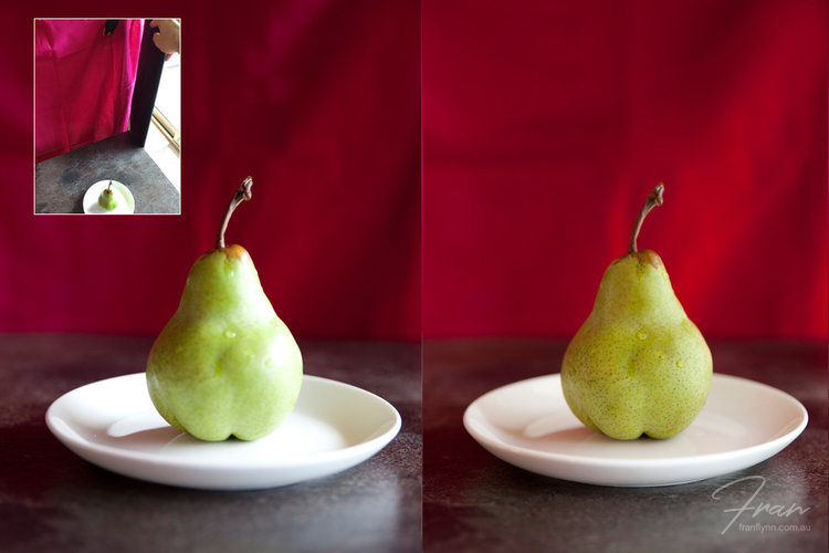 In the image on the left the background has been shaded with a piece of black card, which makes the pear stand out more. The light is obviously very strong at this moment and is too bright on the right side of the pear.  The image on the right side also has the background shaded with a piece of black card. The light source is diffused with a white sheet and a white card reflector is positioned on the left side, which softens the shadow on the left side of the pear. Note the unexpected affect it has had on the auto white balance (i.e. the background looks a lot redder than the pinker previous shots).... white balance will be a topic in a later blog