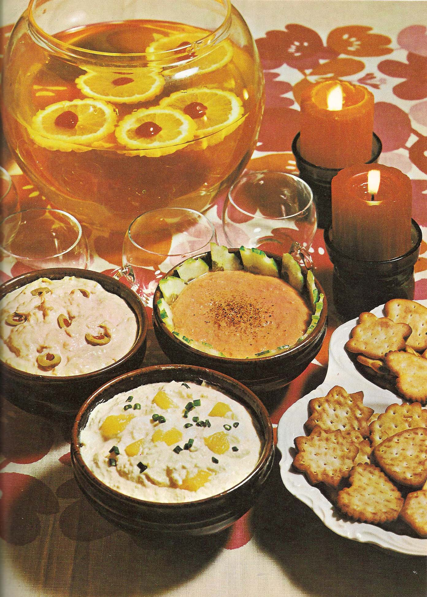 Cramming an image with props seemed popular also.  Myra Street, Mixer & Blender Cookbook 1972