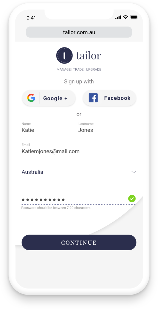 A user will be able to sign up with Social Media for ease or sign up filling out a minimal amount of fields