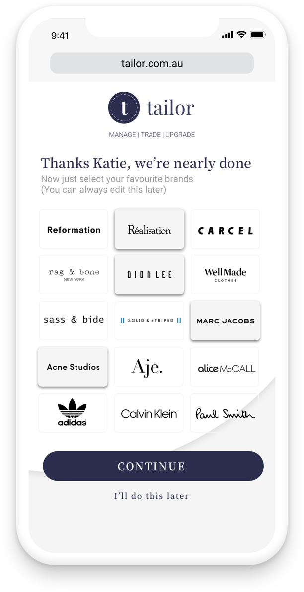 The third step will prompt the user to select their favourite brands, thus curating the feed to their preferences