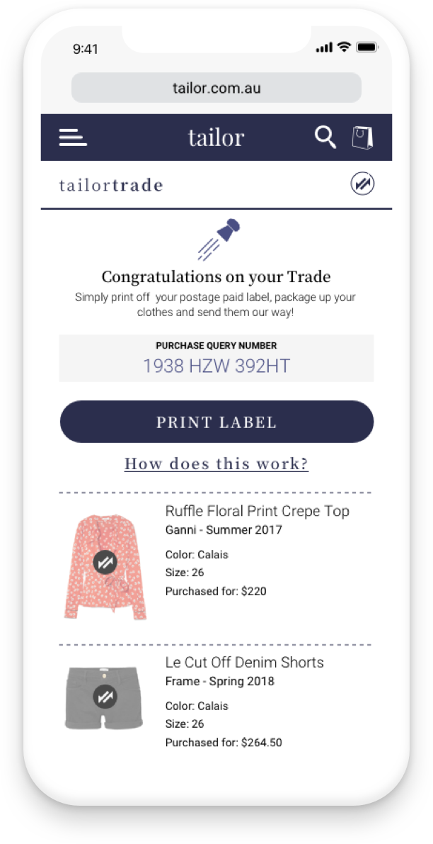 User will be provided with postage paid for label to print and send clothes off