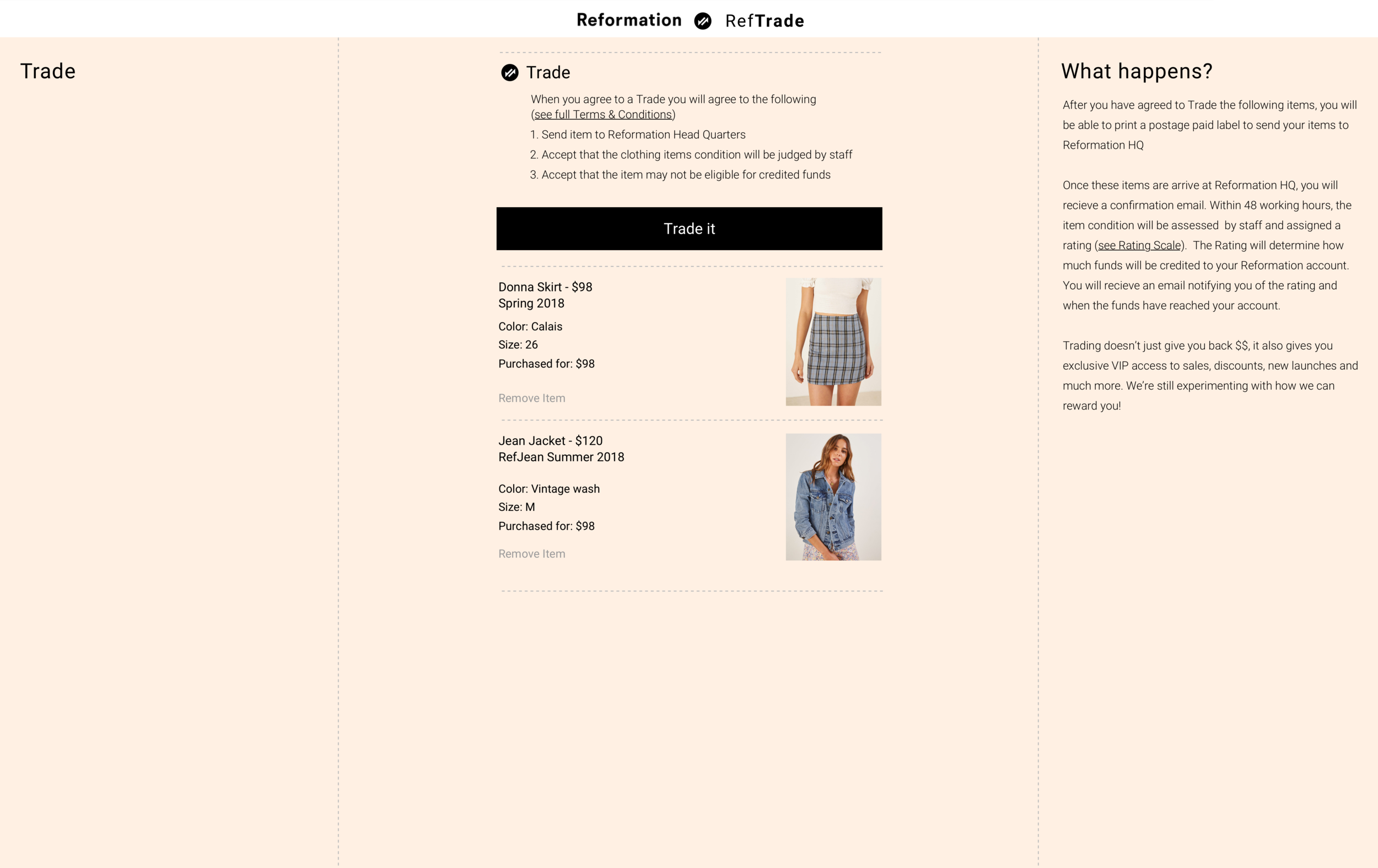 WF03:  Users are taken to a similar experience to shopping however is branded in a slightly different colour. Details of the trade are displayed on the right