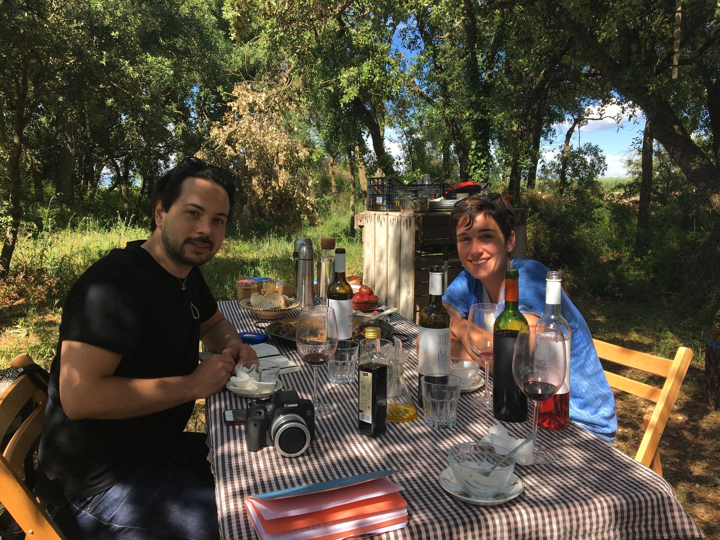 Surprise lunch and tasting in a shady grove.