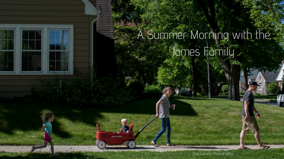 Family of 4 walking down the road during a Wauwatosa Family Photo Session