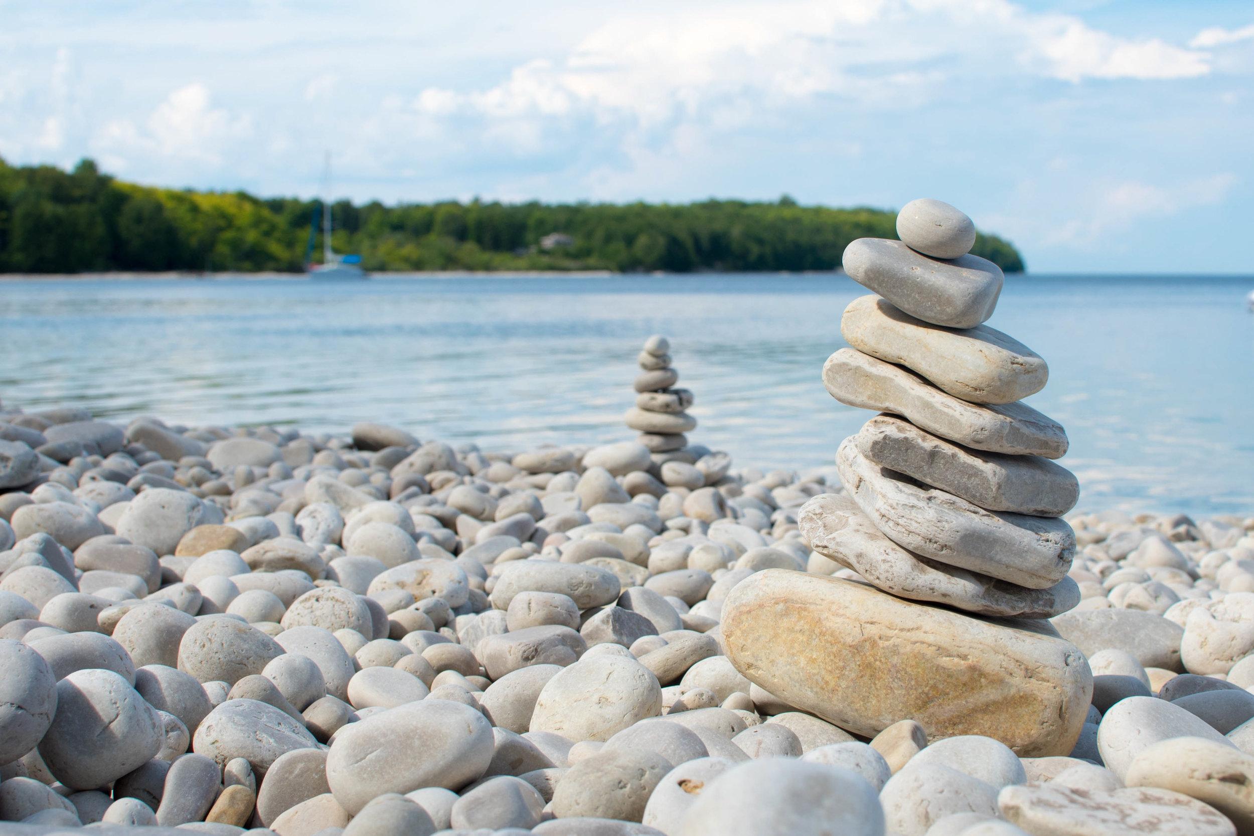 Rocks stacked up on school house beach, washington Island Wisconsin