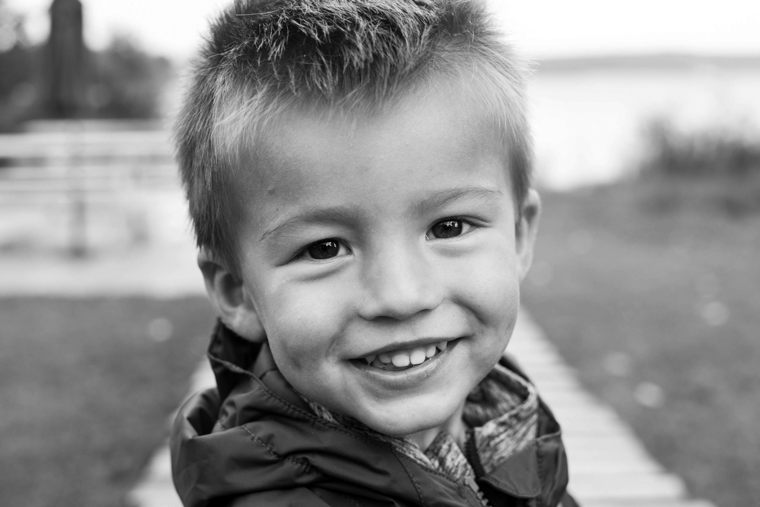 Toddler boy portrait, black and white photo