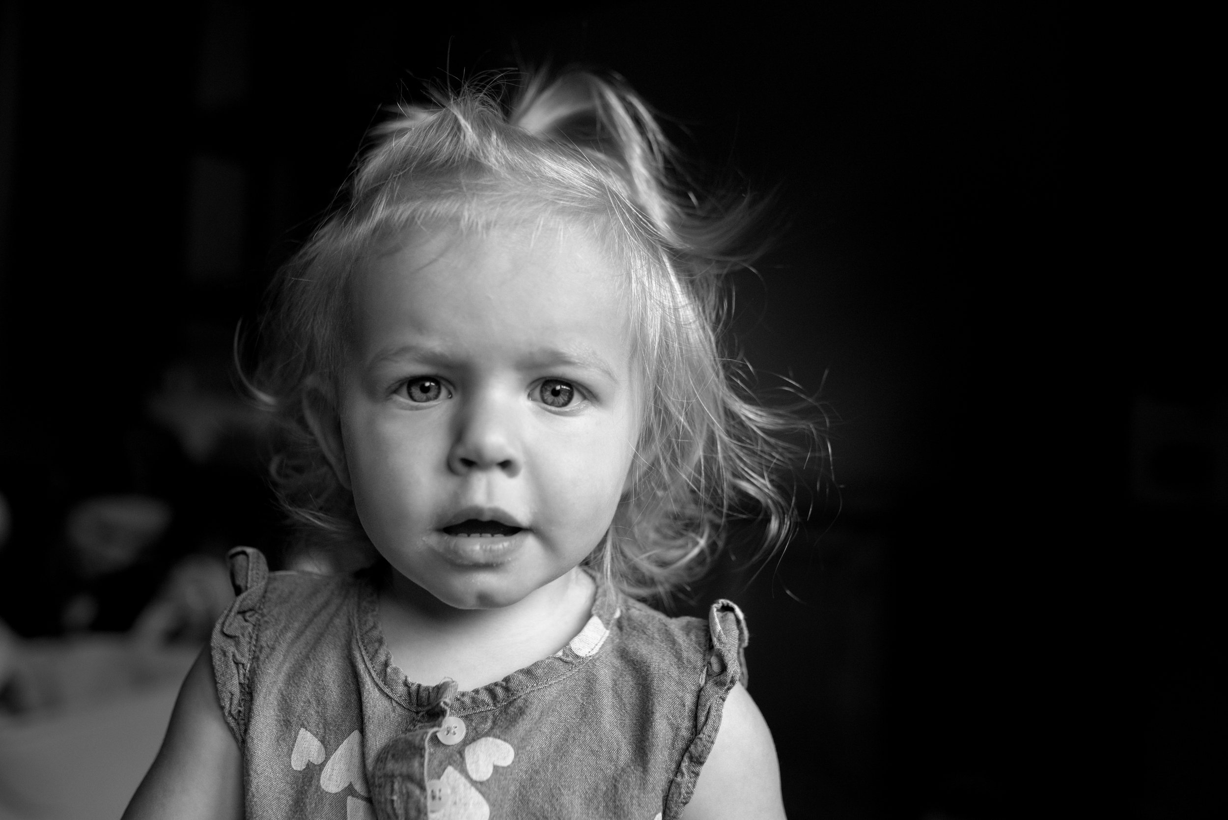 Portrait of toddler girl with blonde curly hair