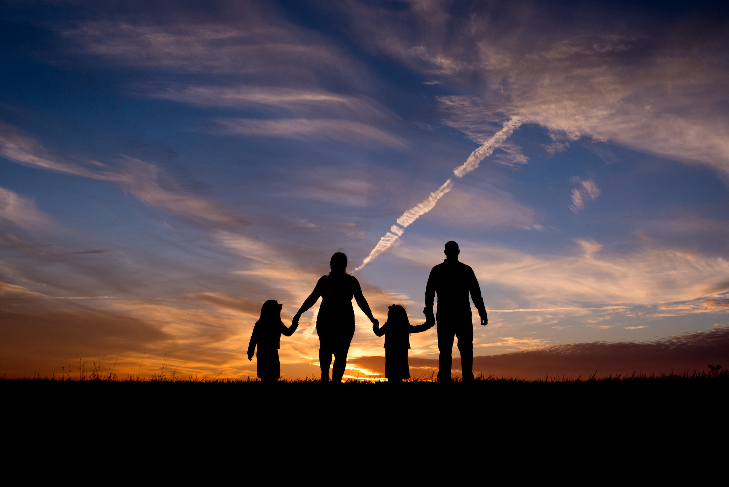 Silhouette of a family during sunset at the Retzer Nature Center during a Waukesha Photography session