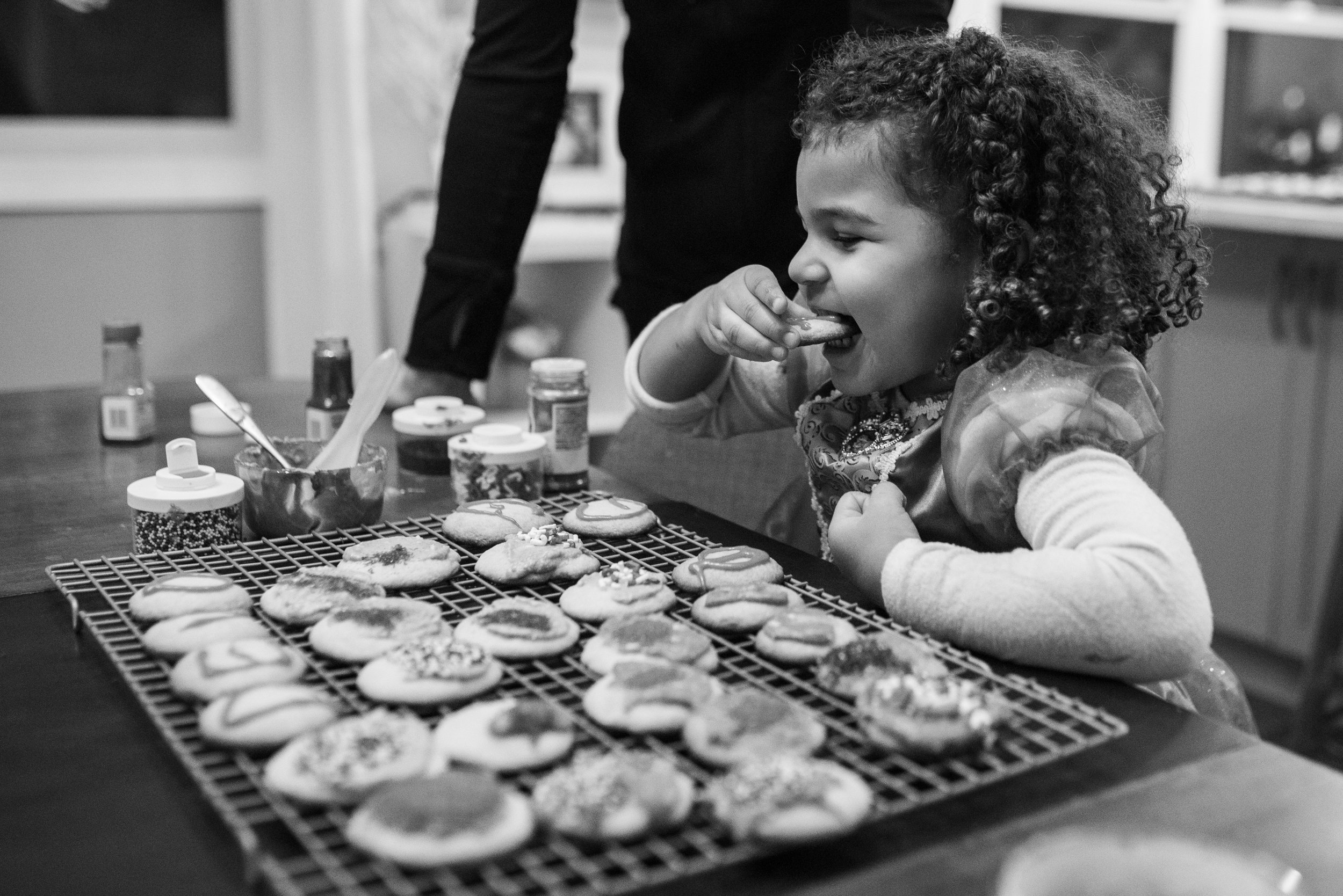 Girl watching cookies