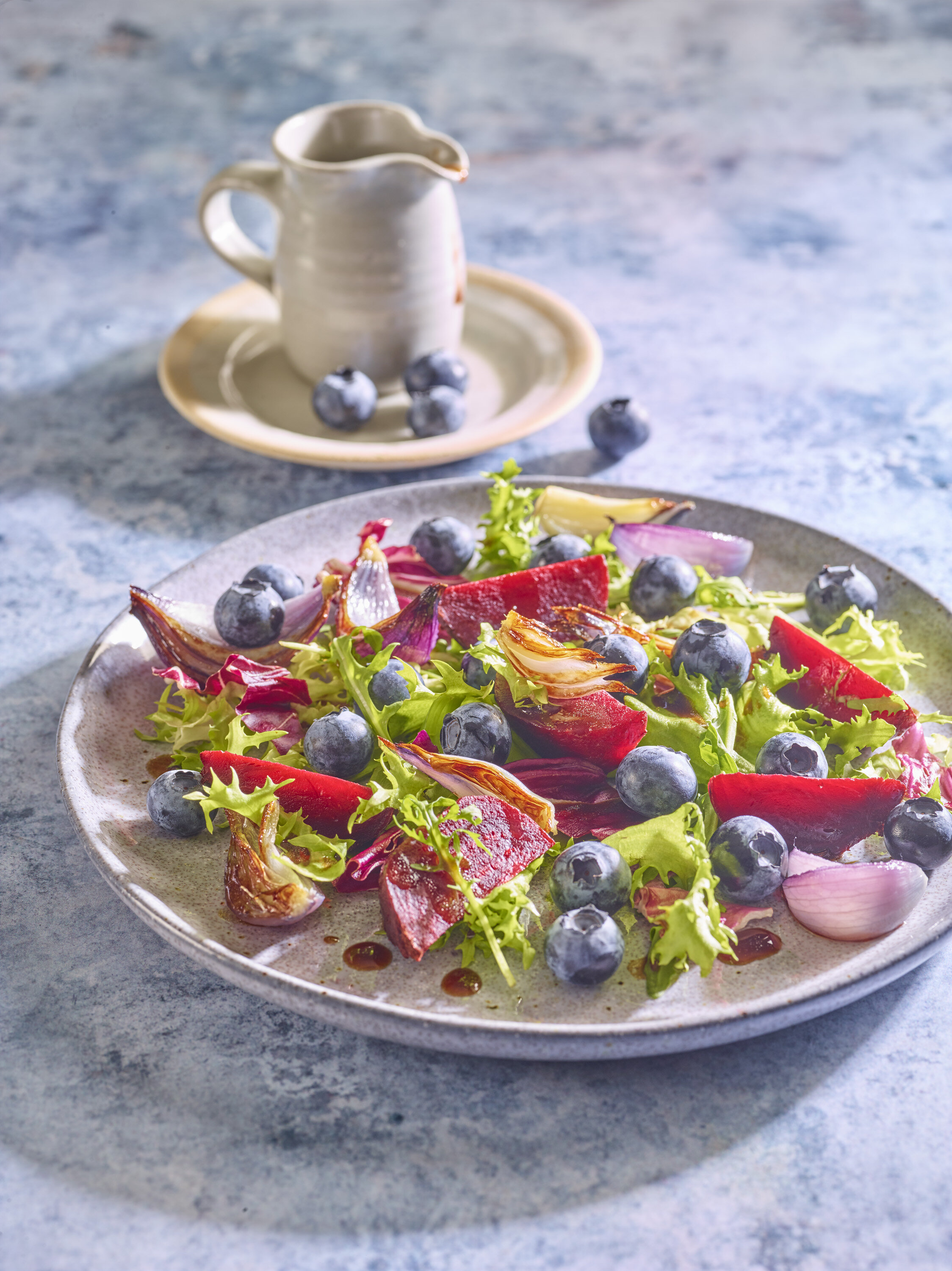Blueberry, Beetroot and roasted red onion salad for Soloberry from The Medicinal Chef