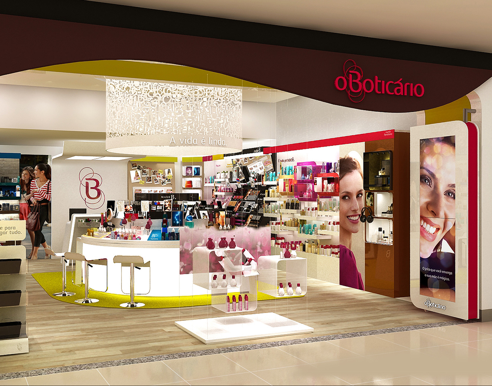 """The display positioned on the centre of the store was developed to be a """"perfume bar"""" and a """"make up bar"""". I designed the content and displays of this area. My team was also responsible for designing the façade and other elements of instore communication such as signing, wall paper and props."""