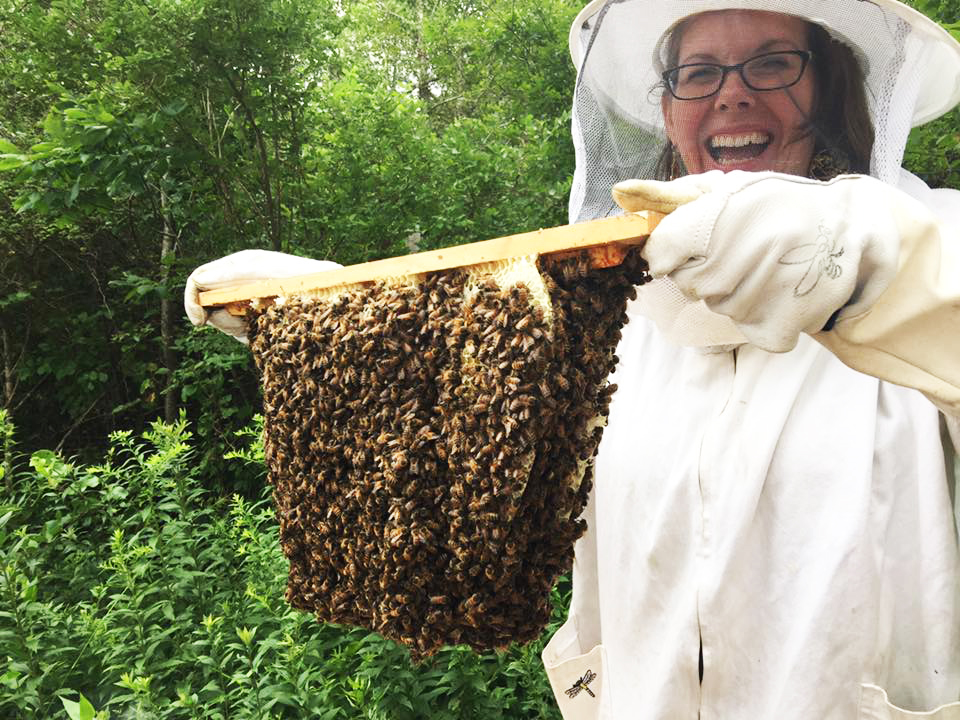 Tina McDonald shows us a top bar hive.