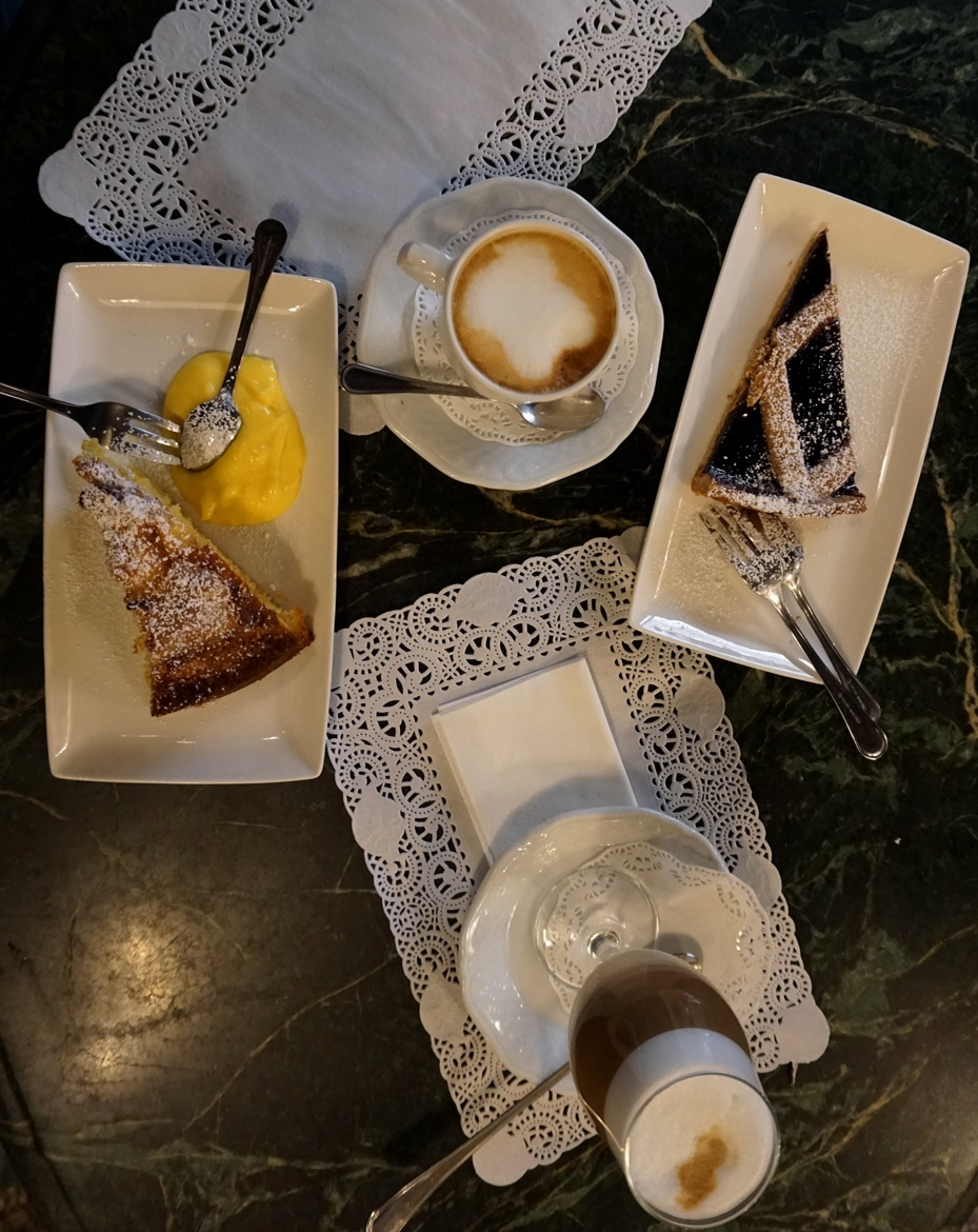 Italian-style breakfast with cappuccino and pies
