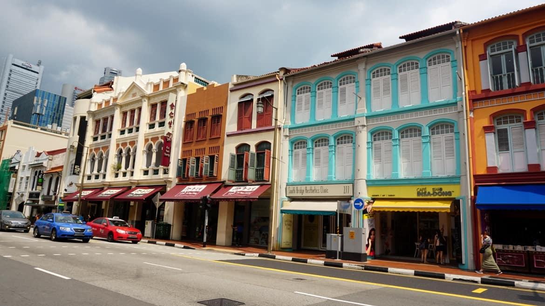 Πολύχρωμα ανακαινισμένα καταστήματα/σπίτια στην China Town