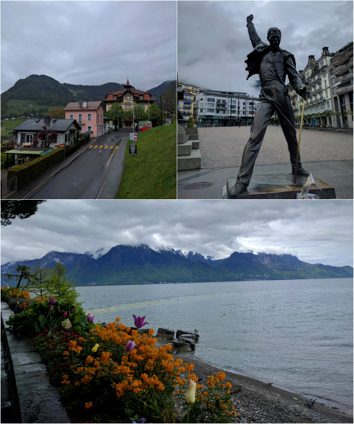 Flowers and statues along Montreux's promenade