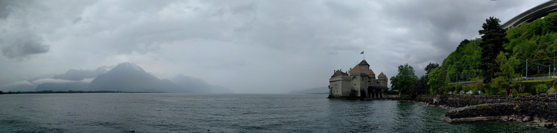 Panorama of Chateau de Chillon and Lake Geneva