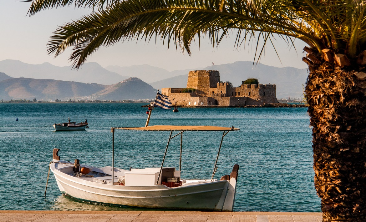 Castle of Bourtzi as seen from Nafplio's marina
