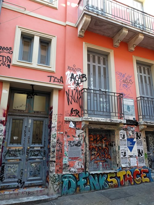 Graffiti on an old picturesque building