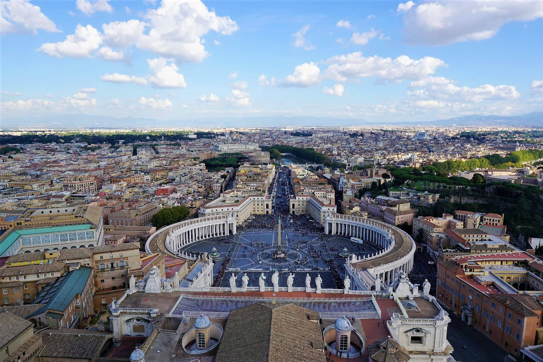 View from Saint Peter's Basilica over the Vatican. Source: Truevoyagers