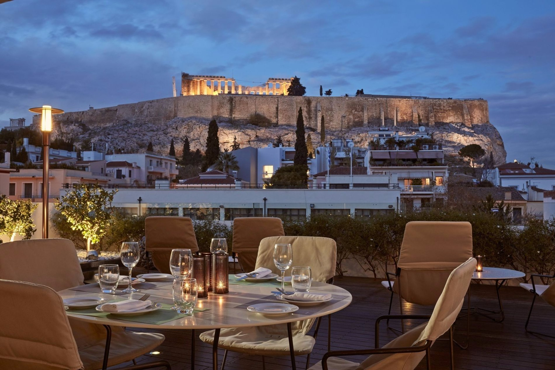Enjoy your dinner at Herodion Hotel's rooftop. Source: Herodion