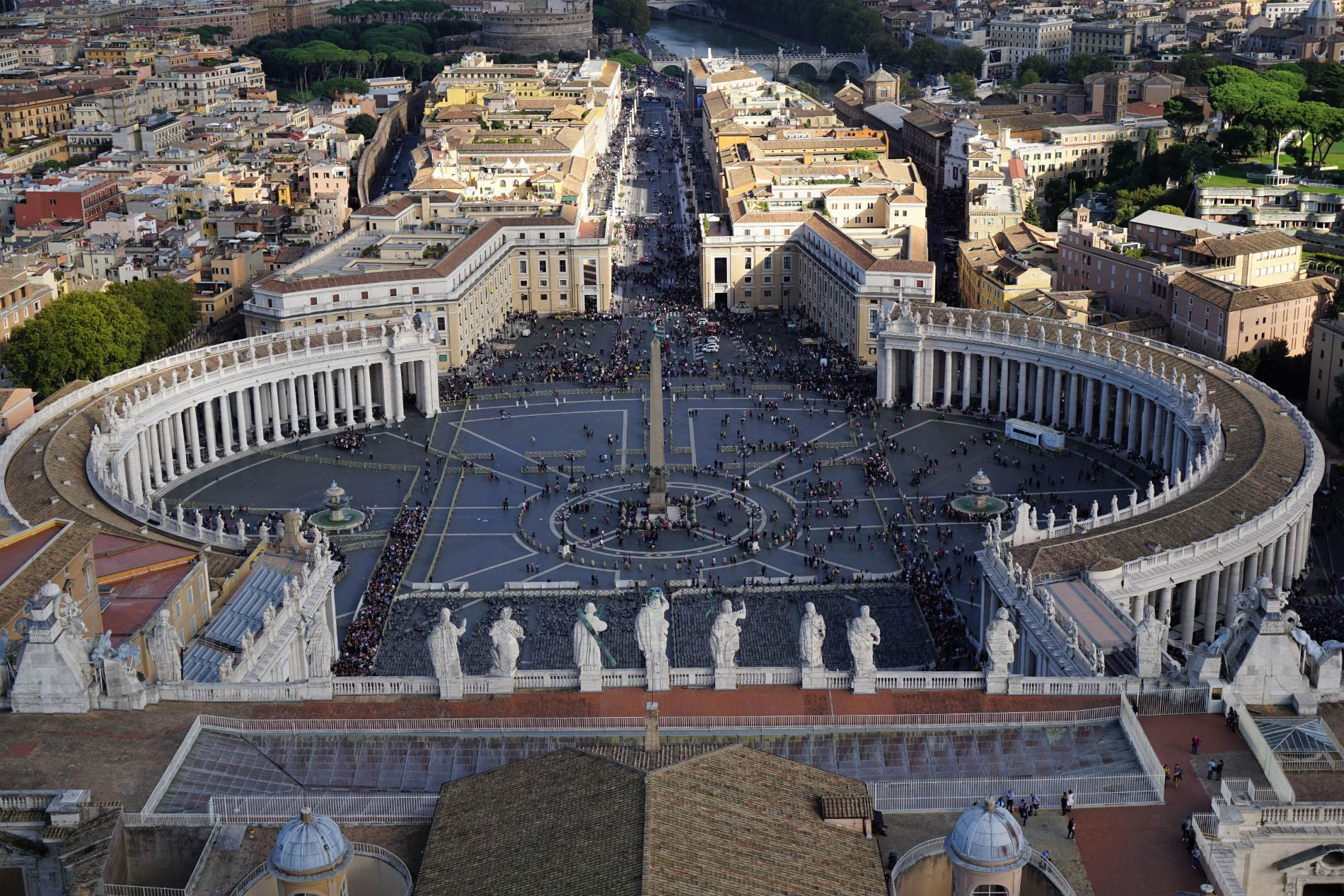 Saint Peter's square as viewed from the rooftop of Saint Peter's Basilica in Vatican city. Source: Truevoyagers