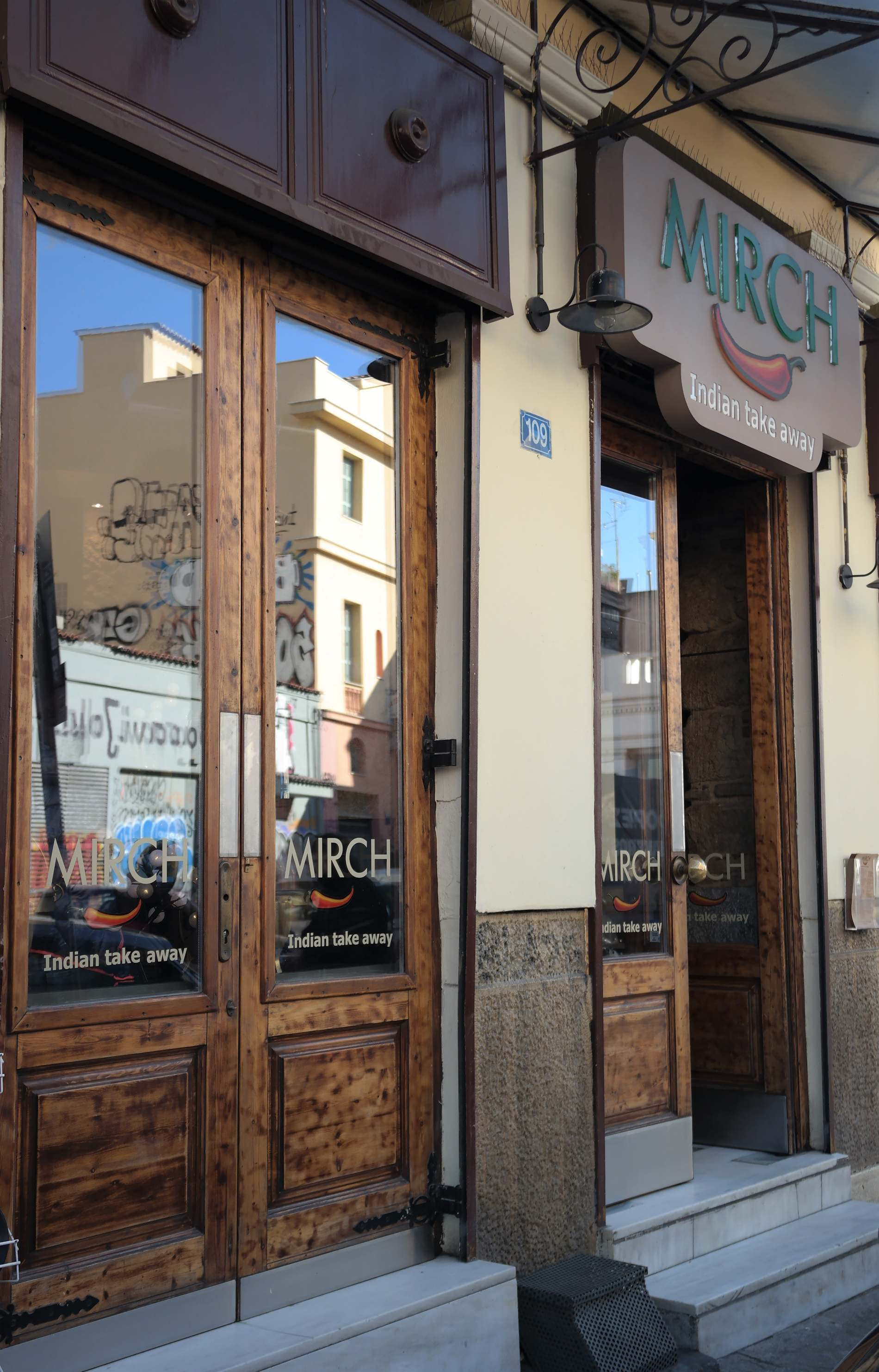 The entrance of Mirch street food restaurant in Athens. Source: Truevoyagers