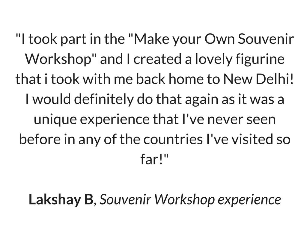 Lakshay's Review for Souvenir Workshop
