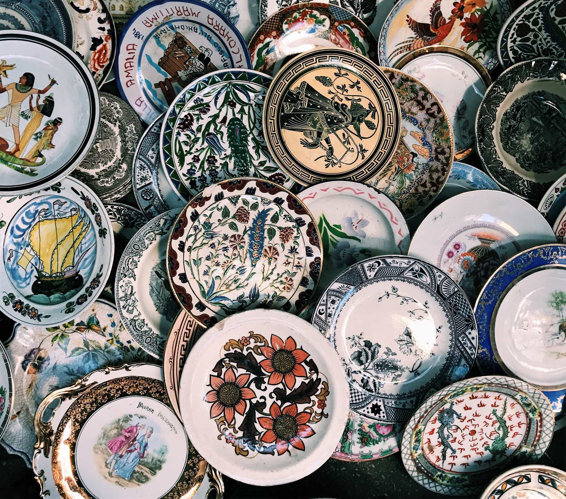 Handmade and hand-painted ceramics can be found in the Greek islands or in Athens' flea markets. Source:  Teapot