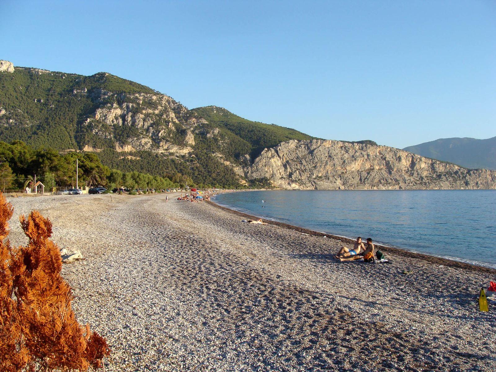 Psatha beach as captured from Kavo Ntoro tavern. Source: greece.com