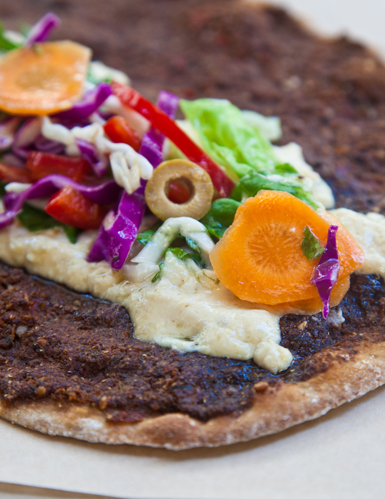 Delicious vegeterian lahmajoun with hummus. Source: Feyrouz