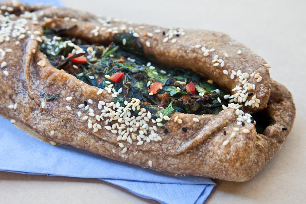 Vegeterian spinach peinirli at Feyrouz, Athens. Source: Feyrouz