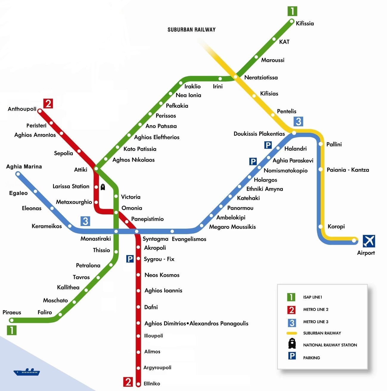 The map of the three metro lines in Athens.