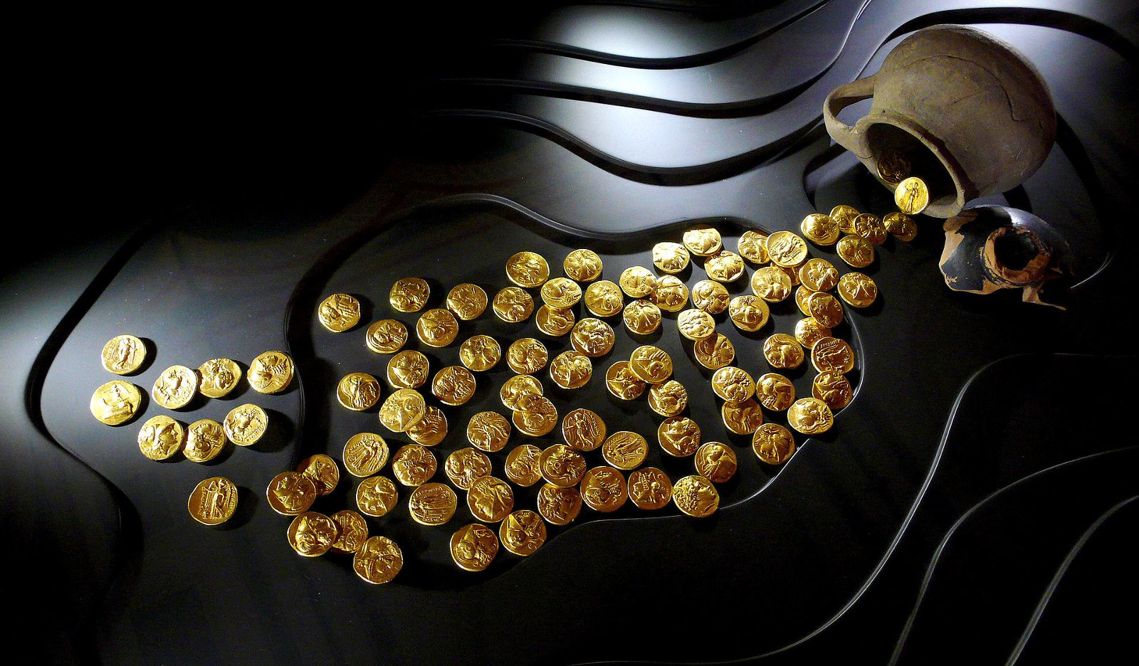 Hoard of gold coins from Epidaurus, 3rd Century BC, at Numismatic Museum of Athens. Source: Xuan Che