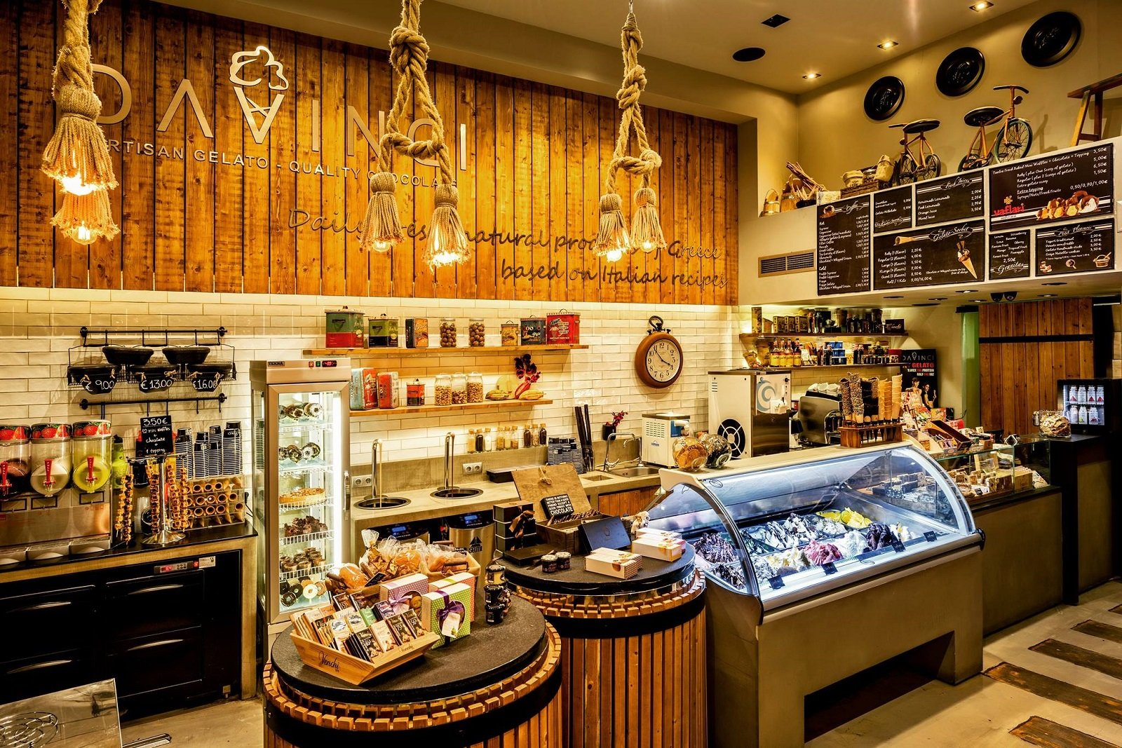 The interior of Da Vinci gelato, designed with attention to detail.