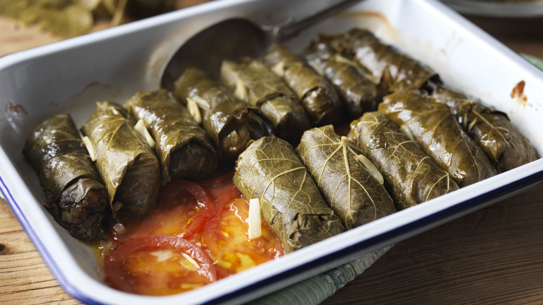 Tasty  dolmades  (stuffed vine/grape leaves) can be found in every Greek taverna.