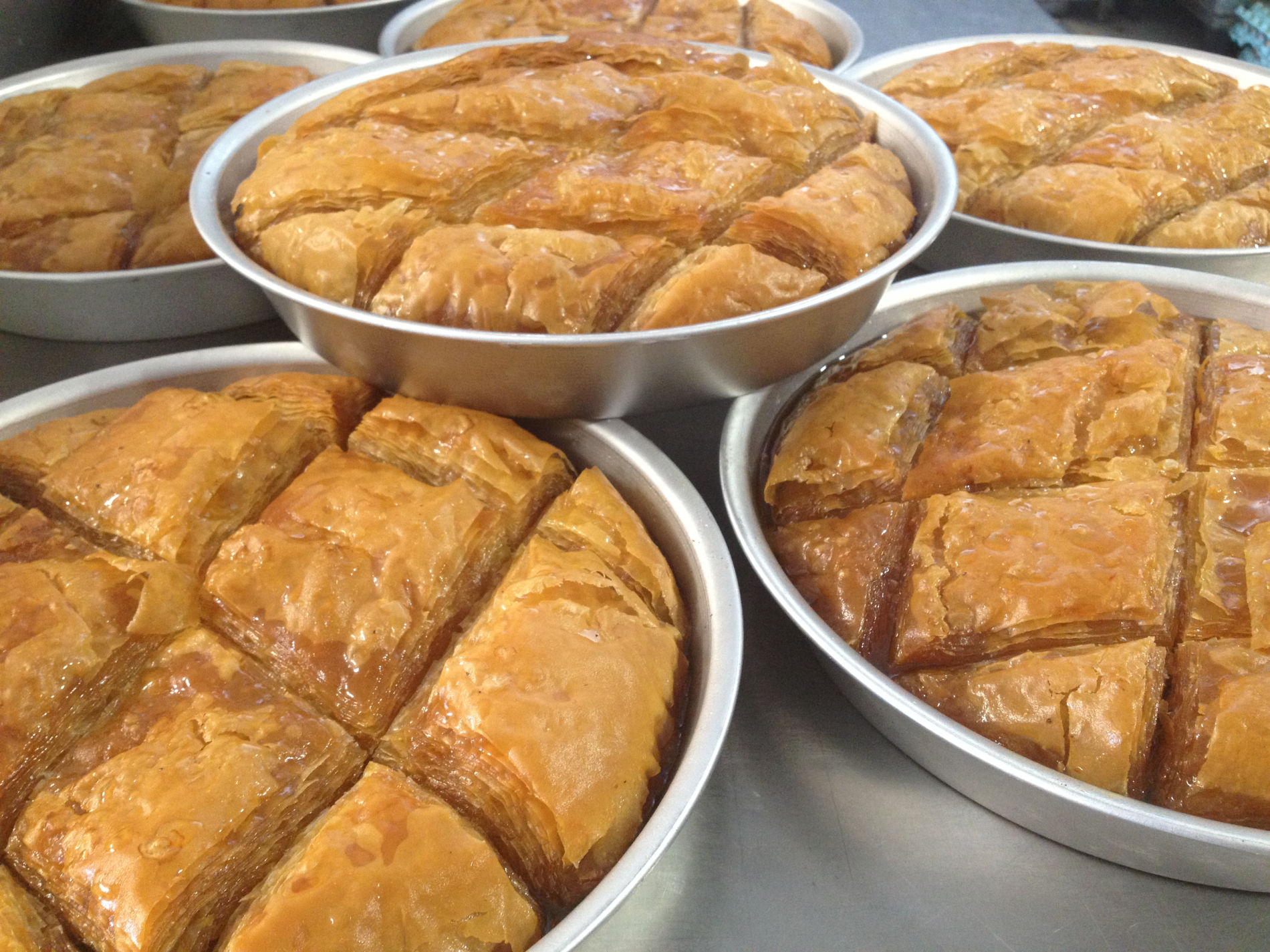 Another delicious phyllo-based Greek desert is  galaktoboureko . The most famous one is made by the dessert chain of  Kosmikon  in Athens. Photo source: Two Minutes Angie