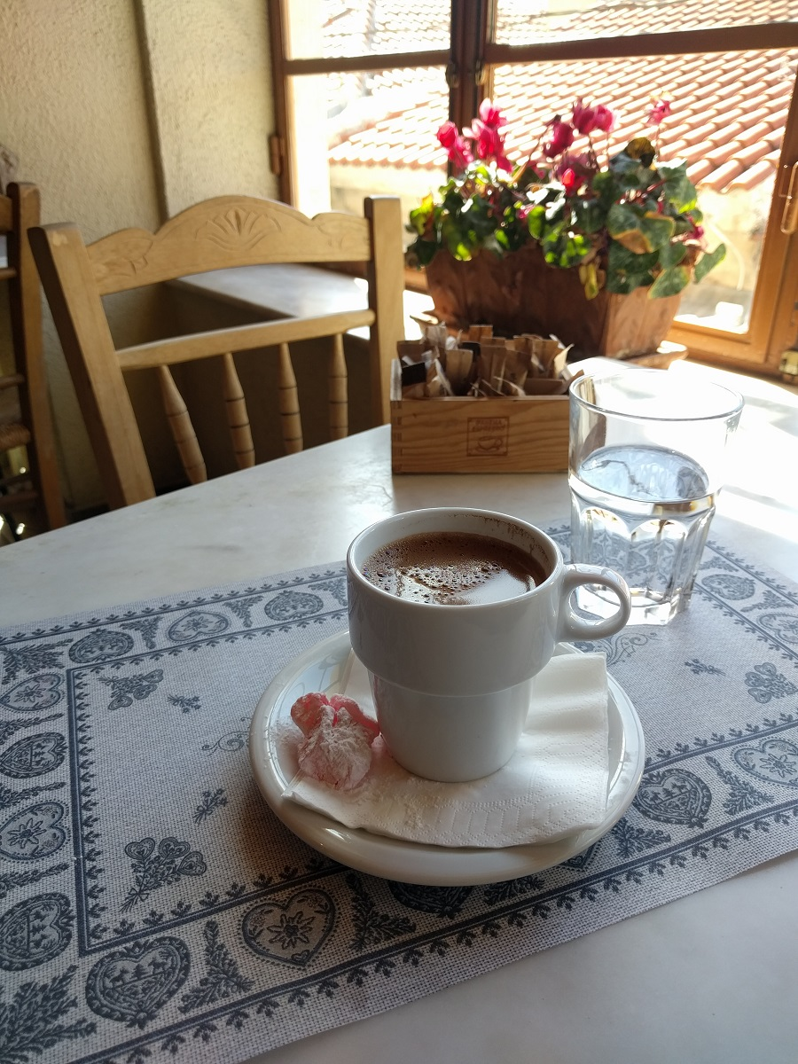 You cannot leave Greece without trying the traditional Greek coffee. It is often served with a sweet  loukoumi .