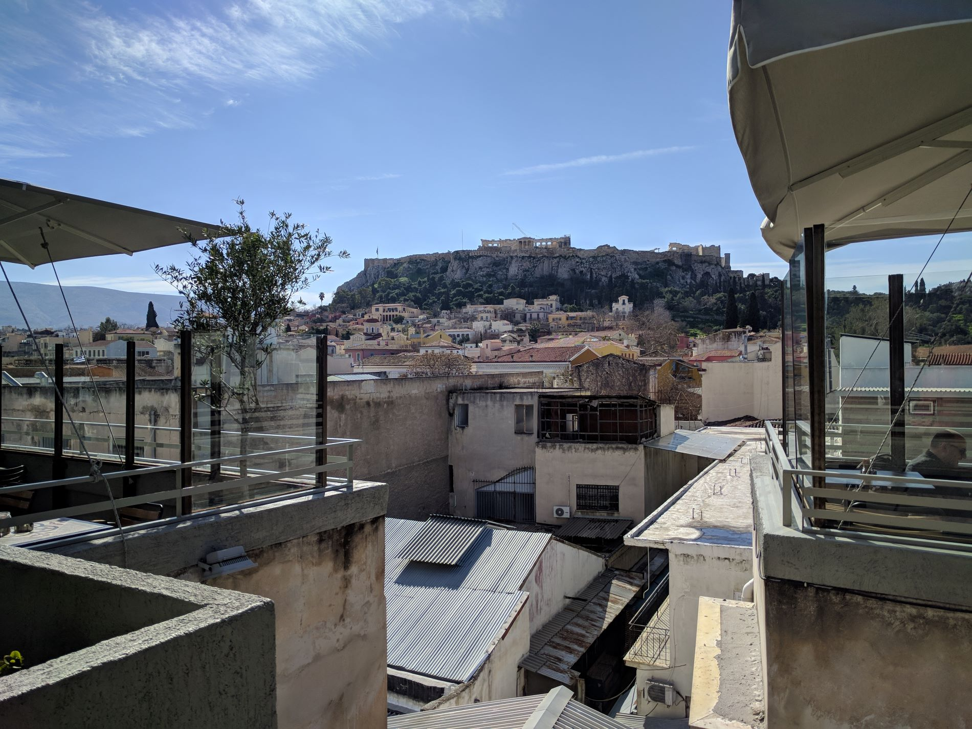 Acropolis view from  Couleur Locale  terrace.