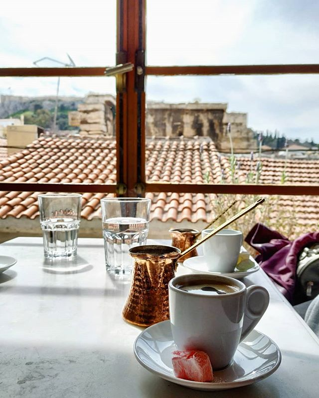 Did you have your morning coffee? We did and we enjoyed it the Greek way 😊☕ #trueathens #coffeetime #morningview #foodtour #Athenstours