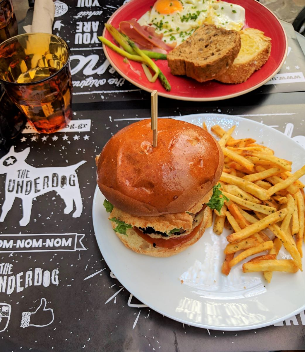 Burgers are always a must during brunch time, especially in  Underdog 's courtyard.