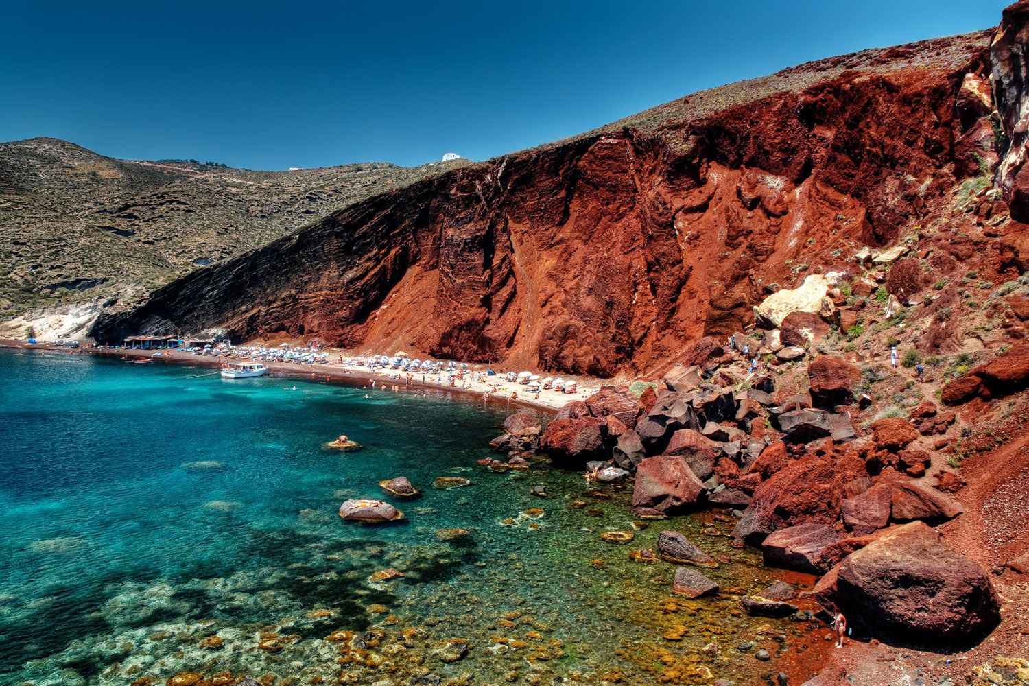 The red beach is undoubtedly one of the most popular in the island of Santorini, famed for its titular red-hued sand. Photo source: santorini-view.com