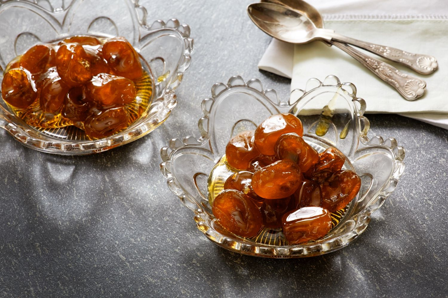 The ultimate accompaniment to Greek coffee, spoon sweets come in a great variety of flavors. Almost all fruit can be turned into a spoon sweet. Here, the traditional  kumquat  from the island of Corfu. Photo source: flynews.gr