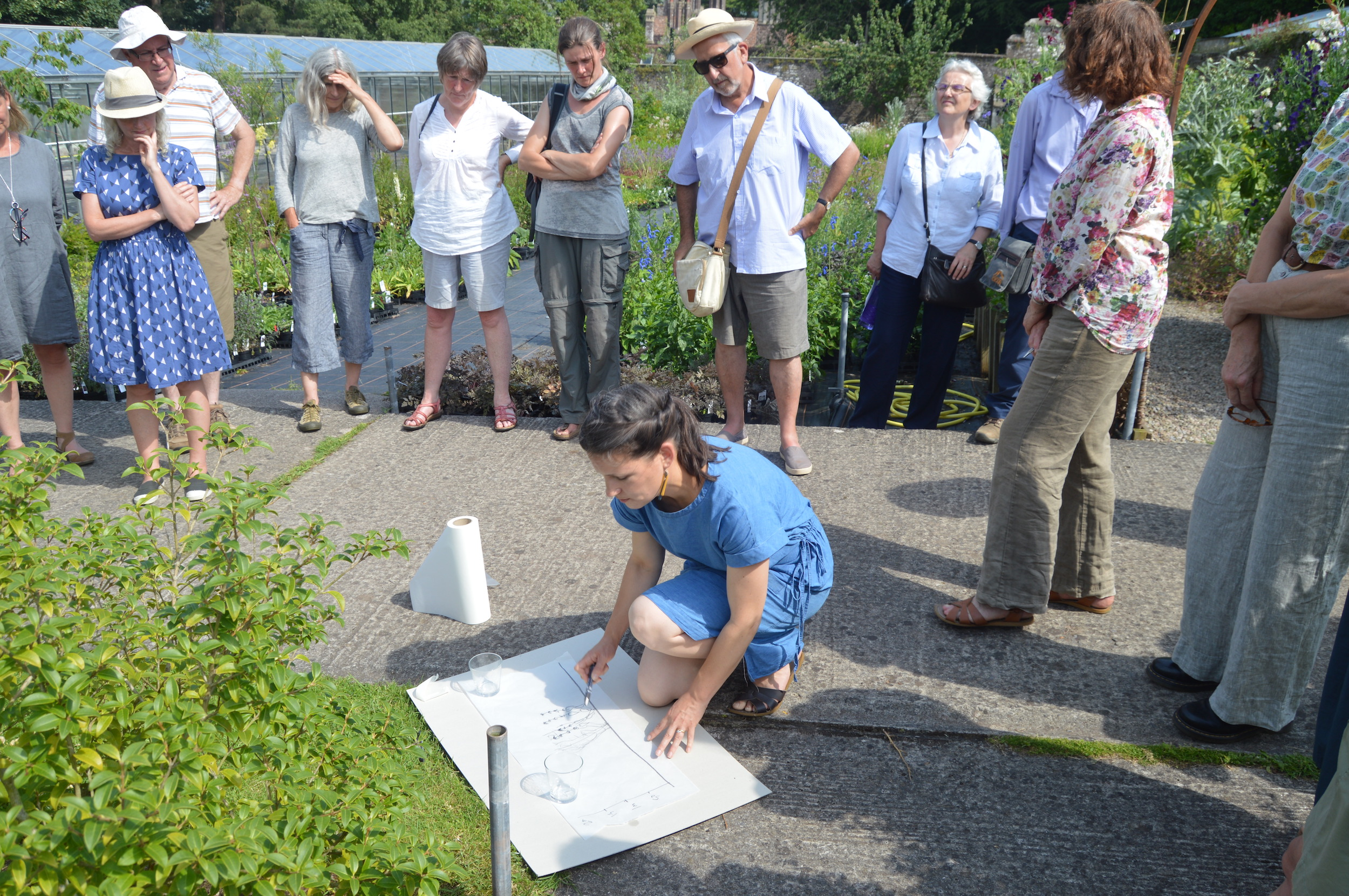 - Designer Sarah Price leads the drawing class at Treberfydd, July 2017.