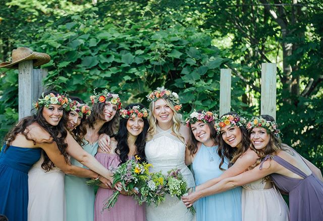 Asa and Katlin's Vermont wedding! I loved creating all of the individual unique flower crowns for this bohemian shindig. I LOVE making flower crowns and I knew my style matched up perfect with the relaxed vibe of this cool couple, also we were roomies once upon a time AND I did flowers for her sister Colleen.. #keepitinthefamily❤️ 📸: @deborah_huber_photography 💄: @bridalservicesbylaela Flowers were all grown in my garden and hand picked at @rockmeadowfarm with Betsy🌸#unfurledvermont #vermontweddings #flowercrowns #bohemianwedding #beautifulbrides #uniqueweddings #vermontbride #slowflowers #localflowers  #foragedandfarmed #organicbeauty #locallygrown #handpickedflowers #magicalwedding