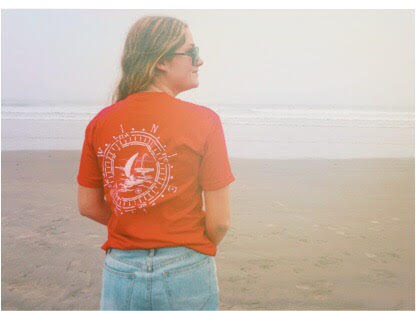 Allie in her classic Red Compass Short Sleeve Shirt