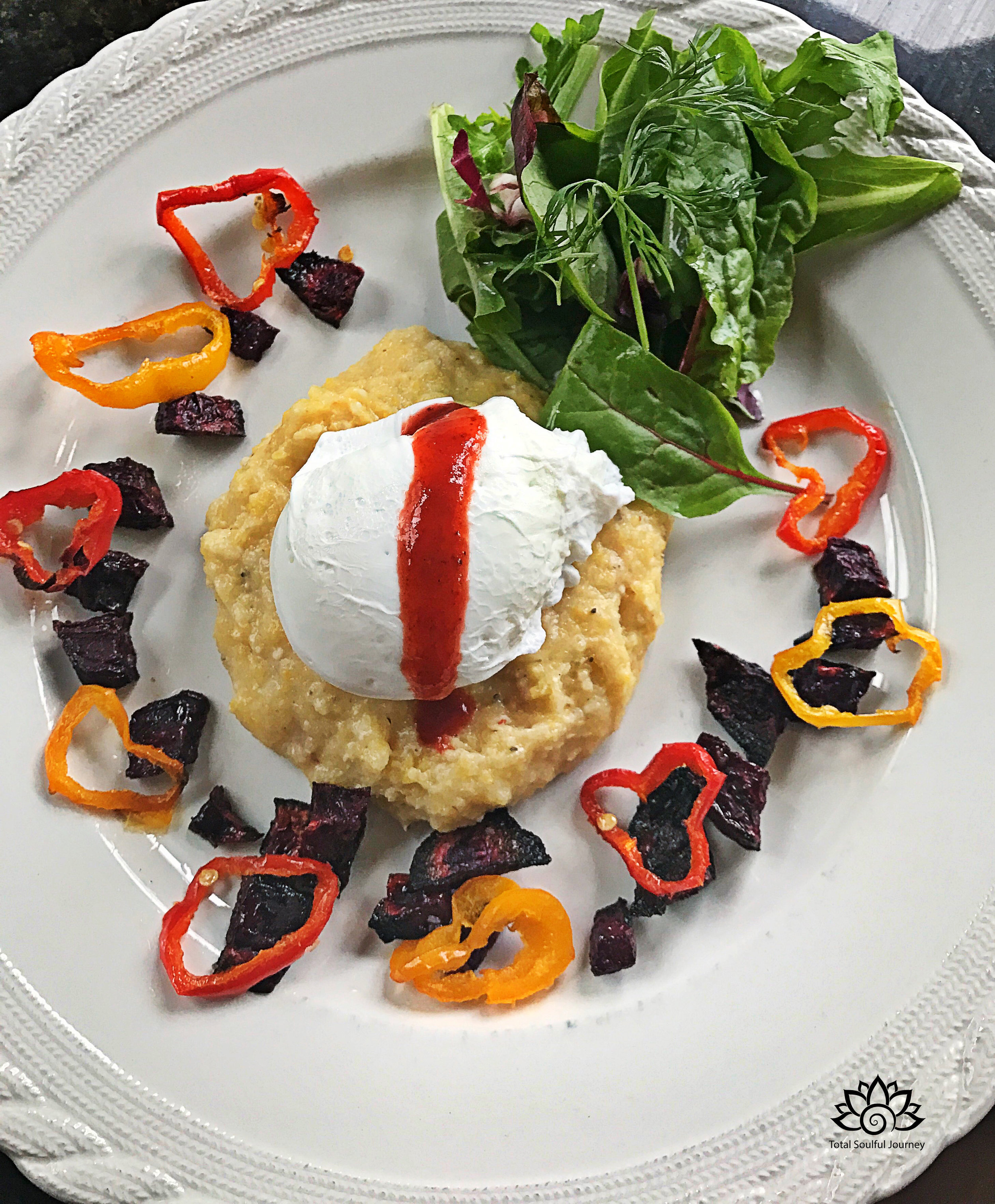 I love making brunch! This is a poached egg on polenta with crispy roasted beets, roasted peppers and a light spring salad on the side, which is delish when the yolk breaks! A drizzle of hot sauce tops it perfectly!